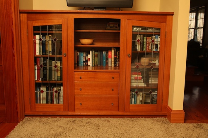 TV cabinet bookcase with stained glass doors